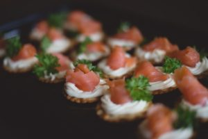 smoked salmon cream cheese cracker canape party food outside catering Crawley West Sussex finger food wedding birthday funeral