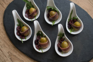 anchovies with olives canape canapes gluten free Crawley West Sussex catering finger food buffet party birthday parties funeral wedding anniversary finger food cater
