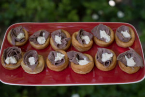 Wedding buffet menu catering beef horseradish yorkshire pudding canape Crawley West Sussex canape catering finger food anniversary birthday