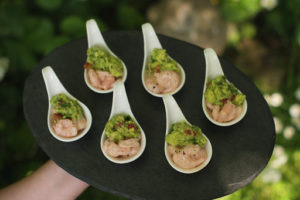 prawn coctail with quacamole canape canapes Crawley West Sussex catering cater buffer finger food wedding party food finger anniversary birthday exclusive posh wedding weddings